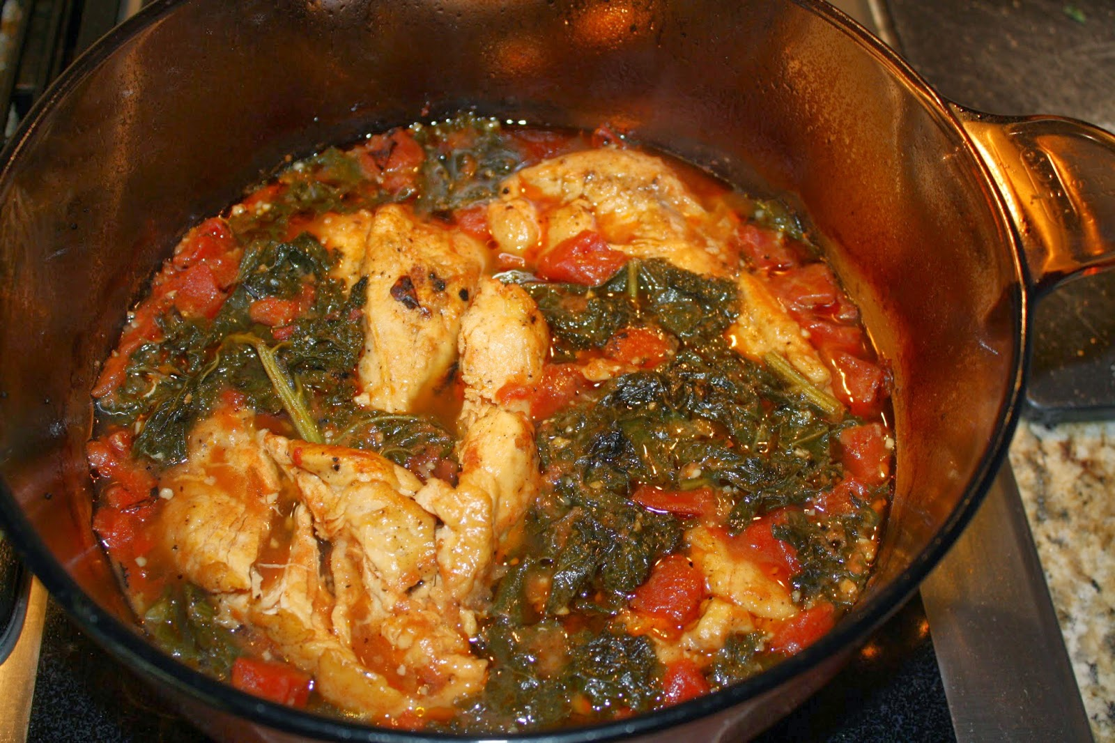 Braised Chicken with Tomatoes and Kale - Wellness Witness