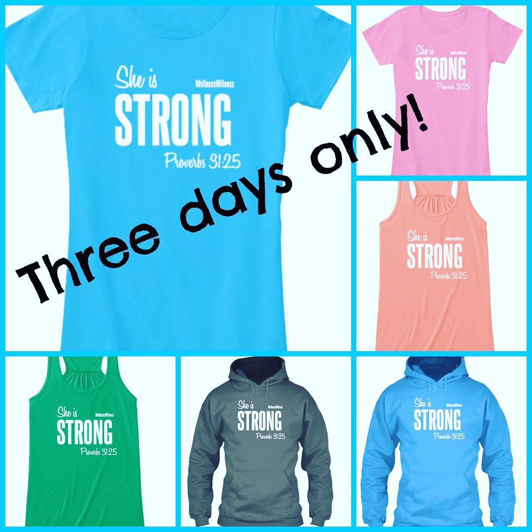 "GIVEAWAY ALERT!!! Many of you asked for a shirt option that you could wear around town and not just to a workout. Here's the newest one! It's based on Prov 31:25. I've made options available for a tshirt, a tank (loose, flowy style), and a hoodie in two colors for each. It says "" SHE IS STRONG"" then Prov. 31:25 and Wellness Witness. This sale is only open for THREE DAYS, so if you want to order, don't delay for too long. Head over to www.teespring.com/wellnesswitness2 to order yours. And for fun, I'm going to give one away on FB and Instagram. Share this post and picture (make sure it's set to public so I can see it) with a comment on which color/style is your favorite. I'll pick a winner early Sunday morning. Thanks!! #wellnesswitnessgear #giveaway"