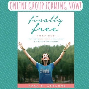 EXCITING NEWS!!!! I've decided to run a 28-day online accountability group for any woman who has purchased the FINALLY FREE book and who wants to walk through it day by day together. This group will be for all ages, backgrounds, shapes, sizes, and fitness levels. It will focus on taking each day's content a little bit deeper and allow a private group setting for discussion, encouragement, accountability, and motivation! (If you haven't bought your book yet, there's still time to order it and get it back before we begin!) If this sounds like something you would be interested in, please leave your email address below. The enrollment cost for the entire month of coaching, support, and teaching is just $10! Hurry, spaces are limited and we start September 1st!